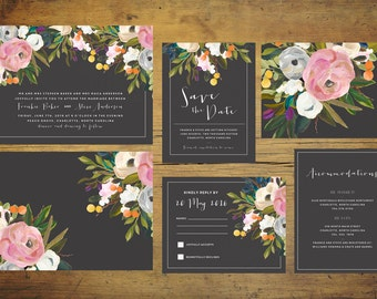 Black Wedding Invitation Suite (Set of 25) | Floral Wedding Invitation Set, Wedding Invite, Wild Flower Invitation, Spring Wedding