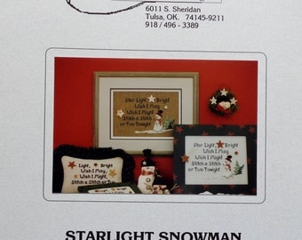 The Stitchworks STARLIGHT SNOWMAN SNOW Man - Counted Cross Stitch Pattern Chart