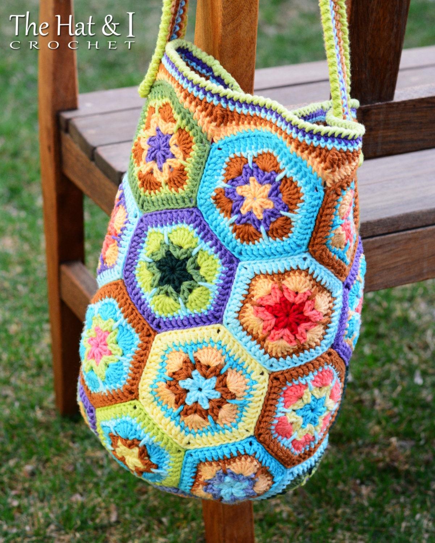 CROCHET PATTERN Boho Bag an african flower crochet by ...