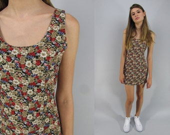 90s Mini Floral Dress, Body Con Dress, Boho, Ditzy Floral Dress, Sun Dress, Tank Dress Δ size: xs / sm