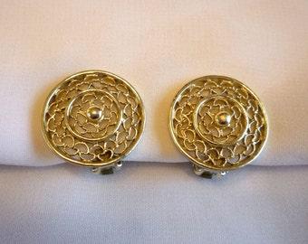 Vintage Silver Tone Filigree Earrings