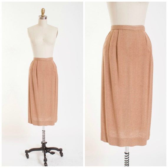 50s vintage pencil skirt light brown rayon vintage 1950s skirt