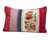Pillow, embroidery, cross stitch , Summer Flowers, 15,7x23,6 inch, cushion cover