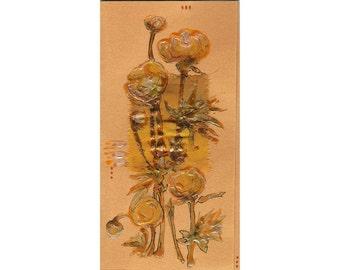 Yellow Globeflowers on pearly yellow - Trollius - wild alpine flowers - handmade blank greeting card - floral artwork original painting OOAK