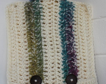 Crochet striped cream and multicoloured (blue/pink/purple/green/yellow) hot water bottle cover