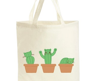 Cat Tote Bag - Cat Bag - Cactus Canvas Bag - Catcus Shopping Bag - Gift For Cat Lover - Cat Lover Gifts