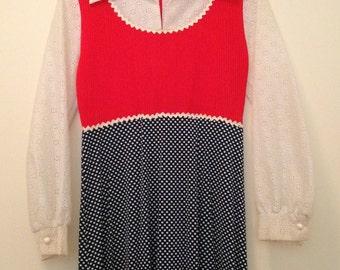 70s Empire Waist Red-Orange Blue and White Maxidress