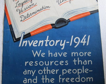 Original 1940s Canvas Think American Poster, Inventory-1941 (Made in USA) Propaganda Canvas Poster