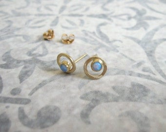 Gold circle stud earrings with Opal , Gold and Opal studs , Opal post earrings , Handmade by Adi Yesod