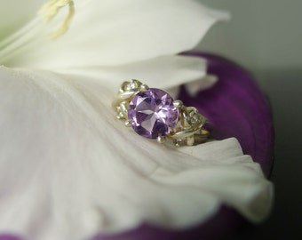 Amethyst Hugs and Kisses Ring Herkimer Diamond Accents Sterling Silver