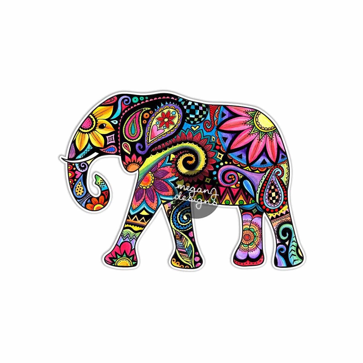 Elephant Car Decal Colorful Design Bumper Sticker Laptop Decal