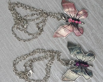 Beautiful Silver Pink Butterfly Crystal & Enamel Pendant with Chain Gothic Emo Punk
