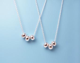 Silver Three Bead Necklace