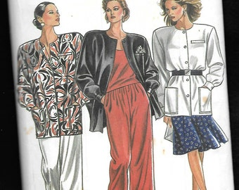 New Look 6319 Misses' Big Jacket, Wide Legged Pants, and Flared 8 Gored Skirt Ensemble, Sizes 8 to 18 UNCUT