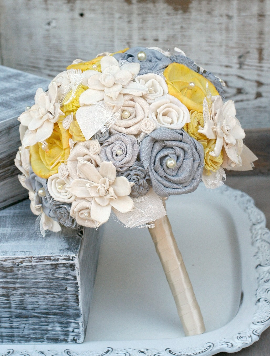 Wedding Bouquet Yellow And Grey Bridal Bouquet Gray