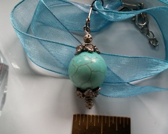 BBF(Before Black Friday) Turquoise Pendant Necklace, 16mm Smooth Round Turquoise (Howelite) Pendant, 16in Organza Ribbon, Silver Lobster Cla