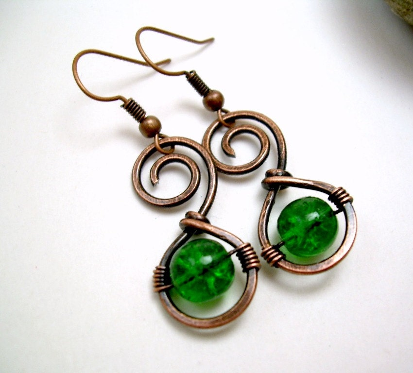 wire wrapped jewelry handmade copper wire by kiawahcollection