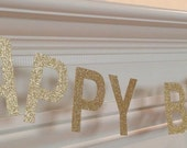 Happy Birthday Banner Gold Glitter 4-inch Letters