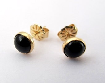 Onyx Earrings, Gold filled Studs with 6mm Black Onyx cabochon, Gemstone Post Earrings