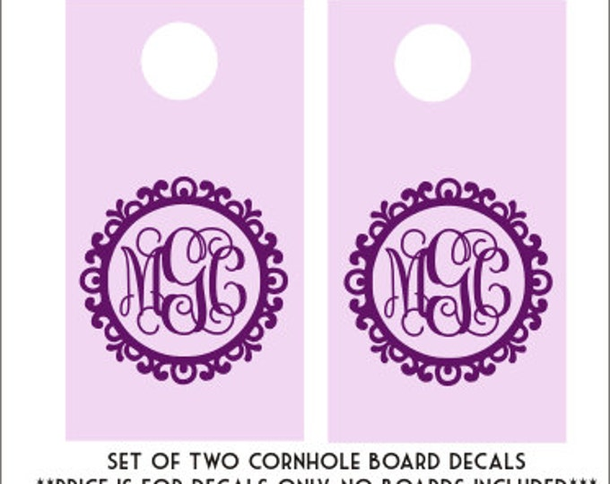 Vine Monogram Decal DIY Wedding Cornhole Decals Set of Two Decals Monogram Cornhole Decals Personalized Decal Monogram Decal Vinyl DIY Decal