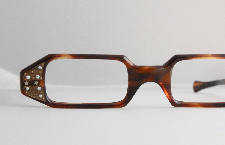 Vintage Tortoise Shell Eyeglass Frames : Vintage 50s Rhinestone Tortoise Shell Cat Eyeglasses