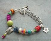 Artisan, Handmade, Sterling Silver, Turquoise, Gemstones, Charm Bracelet