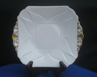 SHELLEY English Fine Bone China - Regency Dainty White - Square Cake Plate - Antique Collectible - Made in England
