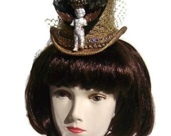 Marie Antoinette gold top hat fascinator headpiece Steampunk Goth Christmas Time traveller frozen Charlotte repurposed detachable brooch