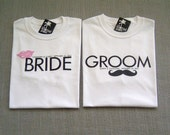 SALE - Groom Mustache and Bride Lips Personalized Wedding T-Shirts : 2 Shirts For 25 Dollars