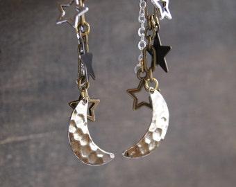 Crescent Moon Earrings Moon Star Earrings Hammered Earrings Silver Moon Earrings Celestial Earrings Moon Phase Jewelry Silver Star Earrings