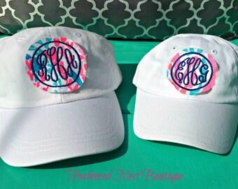 Monogram Youth Hat - Lilly fabric Monogram Baseball Cap - Girls Lilly Monogram Hat - Girls Lilly Monogrammed Hat - Monogrammed Baseball Hat