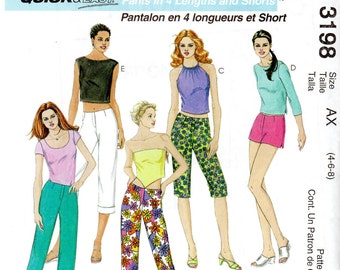 "Easy Women's Low Rise Shorts, Capris, Cropped Pants & Pants Pattern - Size 4, 6, 8, Waist 22"", 23"", 24"" - McCall's 3098 uncut"