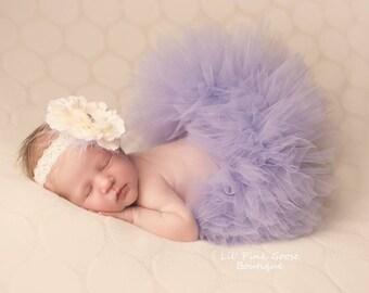 VIOLET TUTU with Lace Flower Headband, More Colors Available, Newborn Tutu, Baby Tutu, Infant Tutu, Newborn Photo Prop, Birthday Tutu, Tutu