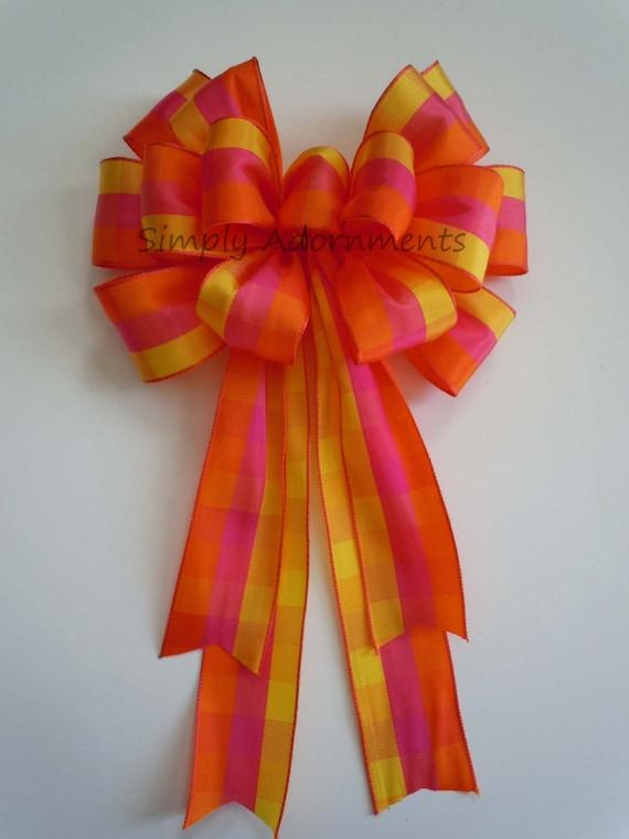 Yellow Pink plaid Wreath bow Pink Yellow Orange Plaid Bow Summer Plaid Wreath Bow Plaid Tartan Birthday Gift Bow Tartan Wedding Pew Bow