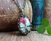 Four leaf clover necklace, mother's day gift, dry flower necklace, lucky shamrock necklace, real plant herbarium nature jewelry