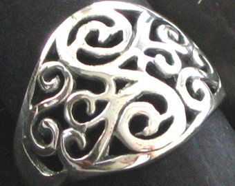 Scroll Wire Bali Design Element Sterling Silver .925 Ring
