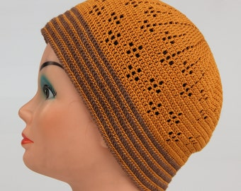 Cotton Beanie, skullcap, hat mustard color, crochet from eco friendly cotton