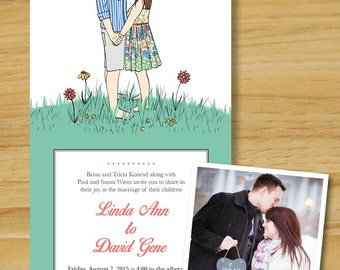 Summer Wedding Invitations with Portrait- Print Yourself Wedding Invitations- Custom Design