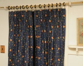 Vintage Curtain Panels PAIR Blue Orange