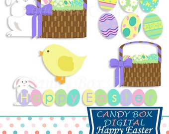 Easter Clipart, Easter Clip Art, Easter Bunny Clipart, Easter Basket Clipart, Easter Bunny Clip Art - Commercial Use OK