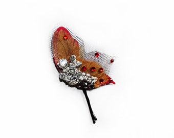 Gothic Butterfly Hair Jewelry, Crystal butterfly Hair Clip, Butterfly Bobby Pin