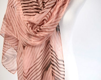 Silk Scarf Pink and Brown Chiffon Wrap Arashi Shibori Shawl Large