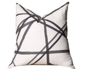 Kelly Wearstler Channels Pillow Cover - Ivory Ebony - Black and Off White Pillow - Designer Geometric Pillow Cover