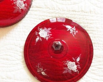 Vintage Pomegranate Red Glass Covered Dish with Handpainted Snow White Roses, Shabby Chic, Olives and Doves