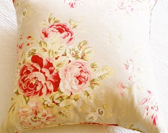 Vintage Cottage Home Pomegranate Red, Cafe au Lait, and Celadon Green Rose Pillow, Romantic Home, Olives and Doves