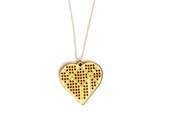 Geometric necklace. Christmas gift ideas. DIY embroidery necklace with wooden heart shape pendant