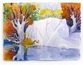 Colorful Landscape, Landscape Painting, Watercolor Landscape, Scenic View, Watercolor Print, River Scene, Tree Painting, Water Art, Tree Art