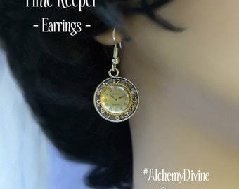 Steampunk Earrings, Victorian Clock Face, Etched Silver Pocket Watch, Gold Filigree.  By Alchemy Divine Couture