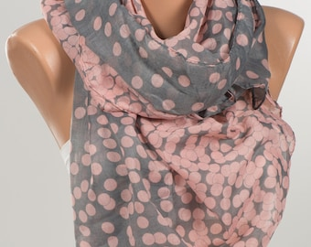 NEW Scarf wrap or Shawl wrap . Holiday scarf. Silky touch. PINK and GRAY polka dotted oversize scarf pareo shawl .