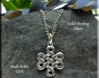 Sterling Silver Celtic Witchcraft Knot Charm-Pendant,  .925 Silver Witch's Knot Necklace - Wiccan Jewelry, Celtic Jewelry - SE-2874